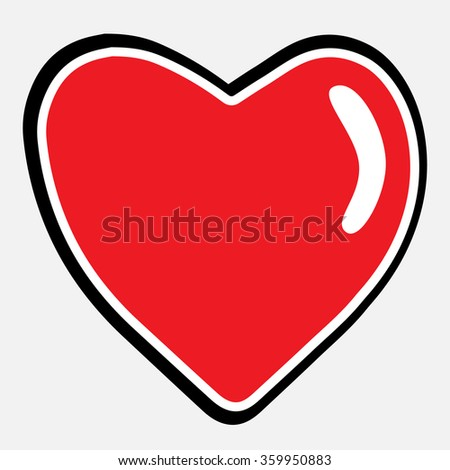 Heart shape vector icon eps 10. Cartoon valentine symbol.