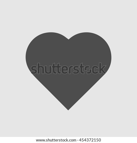 Heart shape vector icon eps 10. Simple valentine symbol. Black love sign isolated on grey background.