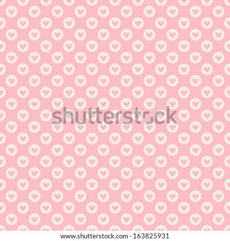 Heart shape vector seamless pattern (tiling). Pink color.