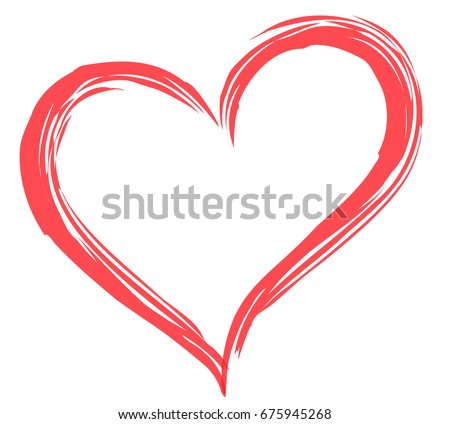 Heart shape vector, sketch illustration can be used for design of valentine, wedding day card of romantic, love theme