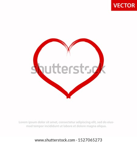 Heart shape vector. Vector Heart shape frame with brush painting isolated on white background