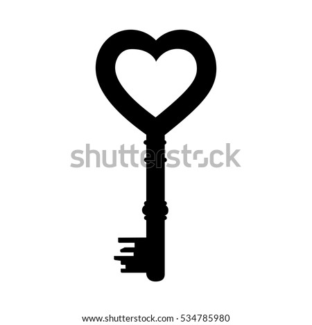 heart shape vintage key icon