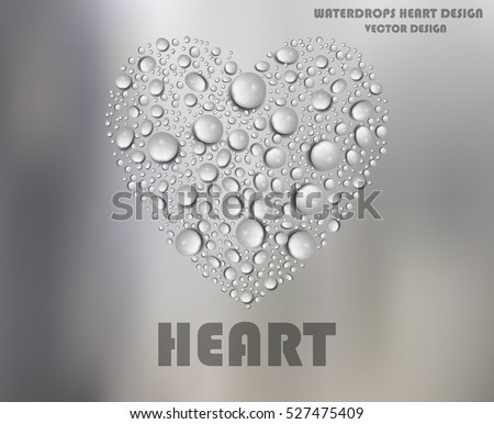 heart shape water drops on
