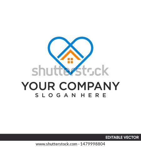 heart shape with house logo