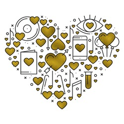 Heart shape with love elements in gold. Heart vector illustration. Love couple, relationship, dating wedding, romantic, amour concept theme. Unique Valentine day print.