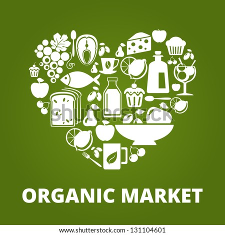Heart shape with organic food icons: vegetables, fruits, fish, tea, coffee