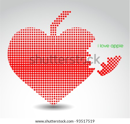 Heart shaped apple. Abstract illustration. Logo design.
