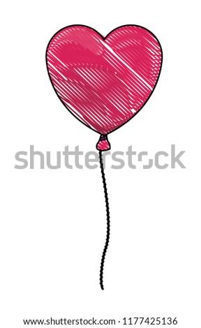 Heart shaped balloon scribble #1177425136