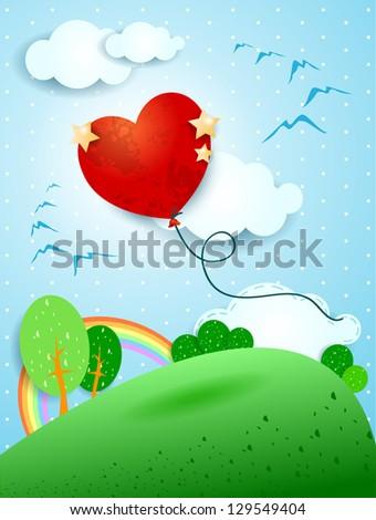 heart shaped balloon  vector