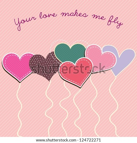 Heart shaped balloons of different colors, on pink background.Vector illustration.