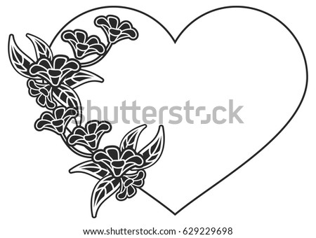 Heart Shaped Black And White Frame With Floral Silhouettes Copy Space Vector Clip