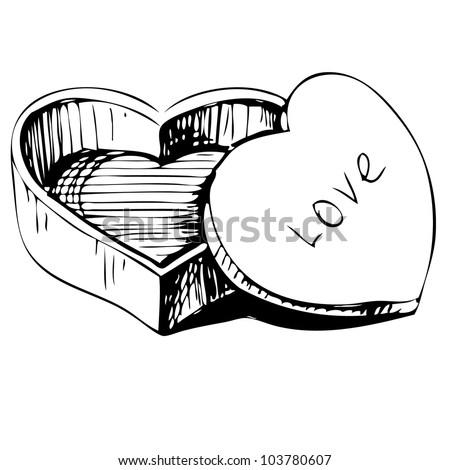 Heart Shaped Box Drawing Heart Shaped Box Icon Isolated