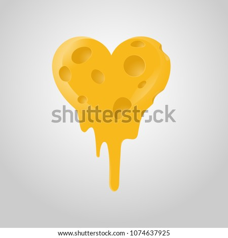Heart shaped Cheese Love Melted