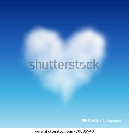 heart shaped cloud in the blue