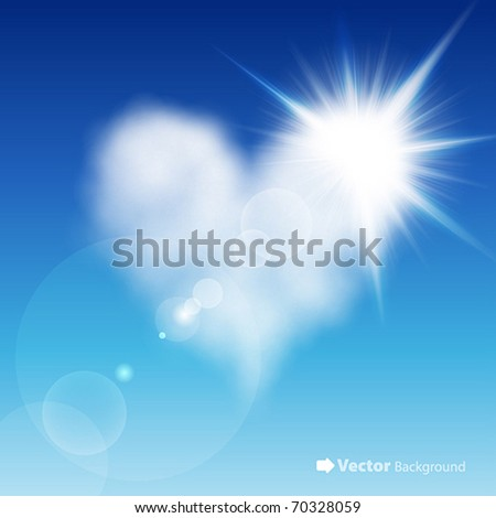 Heart shaped cloud in the blue sky with sun after it. Valentine`s day illustration