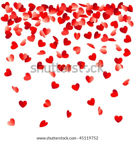 heart shaped confetti falling down - stock vector