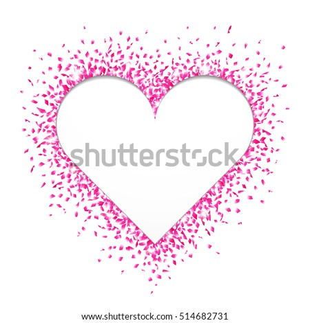 Heart shaped cutout surrounded with bright and shiny pink confetti on white background. Vector illustration.