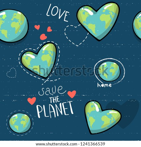 heart shaped earth. Cartoon globe. web icons green happy nature character. love ecology earth planet world map seamless pattern vector illustration. save the planet. motivational inscription #1241366539
