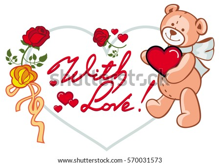 Heart Shaped Frame With Red Roses Teddy Bear Holding Heart And