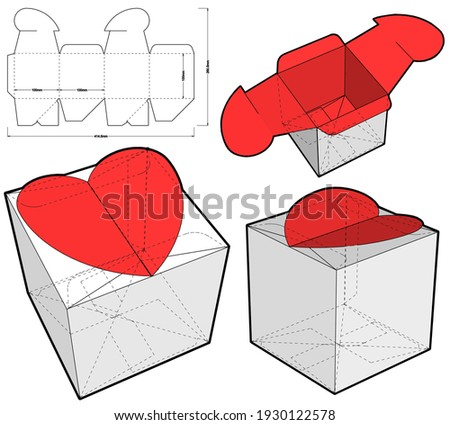 Heart Shaped Gift Box and Die-cut Pattern. The .eps file is full scale and fully functional. Prepared for real cardboard production.