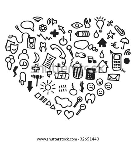 heart shaped icon set web