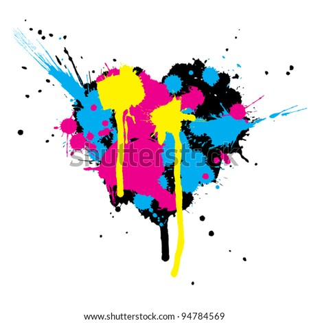 heart shaped ink stains vector