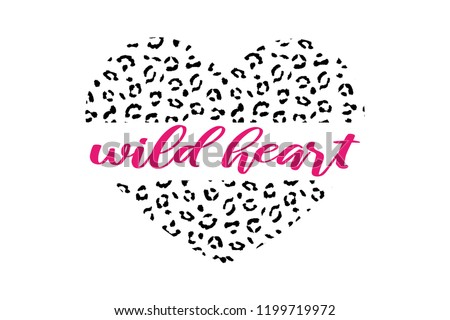 Heart shaped leopard skin pattern with decorative