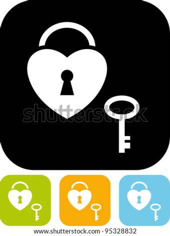 Heart-shaped padlock and key - Simple vector icon isolated on white