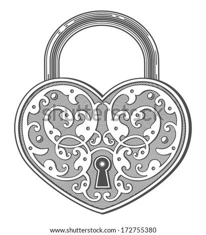 heart shaped padlock in vintage