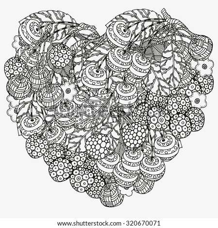 Heart Shaped Pattern For Coloring Book With Cherry Floral Retro Doodle