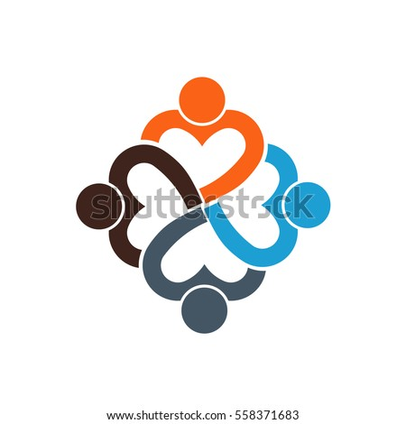 Heart Shaped People. Lovely Group of Friends. Vector Graphic