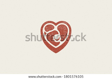 Heart shaped pieced of fresh meat steak silhouette hand drawn stamp effect vector illustration. Vintage grunge texture emblem for butchery packaging and menu design or label decoration. Foto stock ©