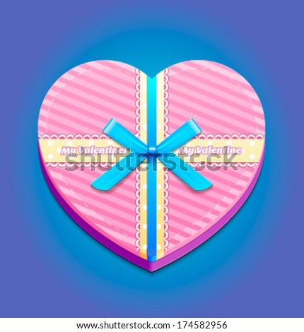 Heart-shaped pink gift box with blue bow. A Valentine\'s Day gift / wedding gift.