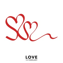 Heart shaped ribbon isolate on white background in valentines day