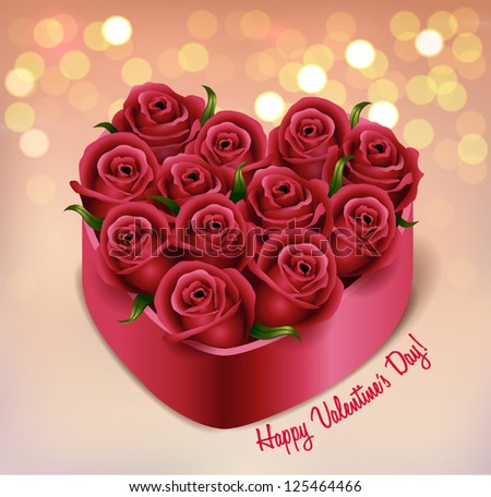 Heart-shaped rose bouquet in a box - vector illustration.