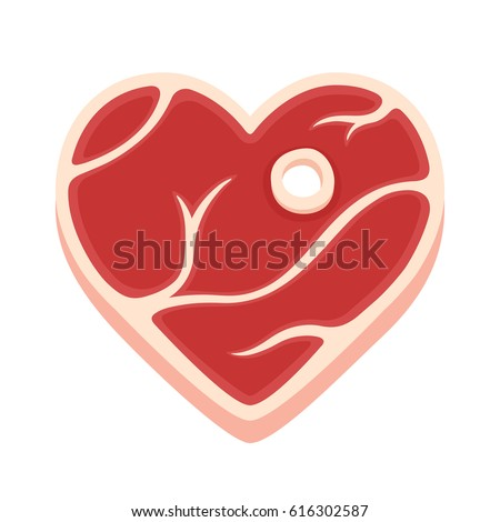 Heart shaped steak isolated vector illustration. Cartoon style piece of raw meat. Meat lovers Valentines day funny greeting card.