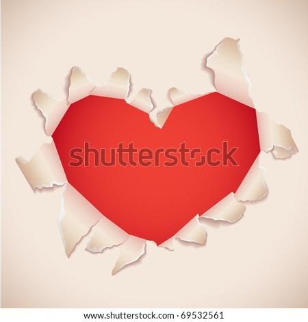 Heart shaped torn paper with red copy space . Valentine's card.