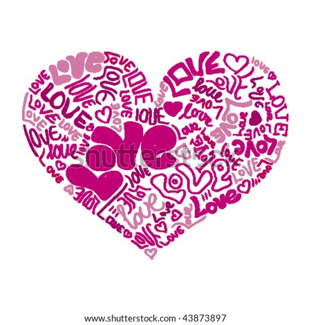 Love Heart Tattoo on Heart Shaped Valentine Love Tattoo In Vector   43873897   Shutterstock