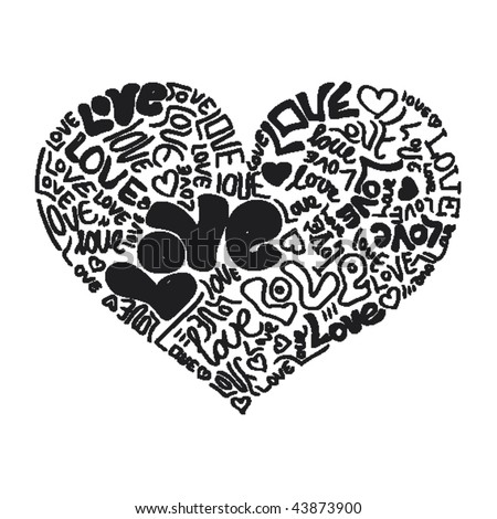 stock vector : Heart shaped valentine love tattoo in vector
