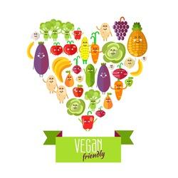 Heart shaped vegetables and fruits to form vegan friendly background. Design elements. Vector illustration