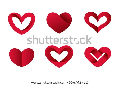 Heart Shapes Collection Design Vector Template. St. Valentine Day Of Love.  Cardiology Medical