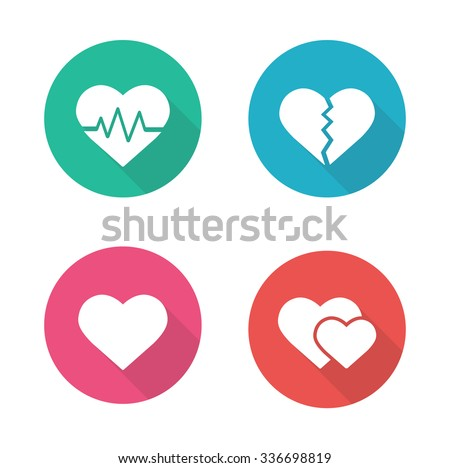 heart shapes flat design icons