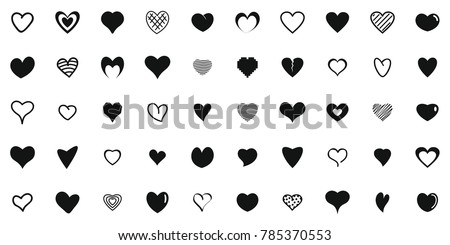 Heart shapes icons set. Simple illustration of 50 heart shapes vector icons for web