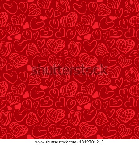 Heart shapes seamless pattern on red background. Doodle romantic print for valentine day decoration. Vector illustration.