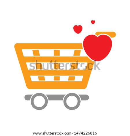 heart shopping cart icon. flat illustration of heart shopping cart vector icon. heart shopping cart sign symbol