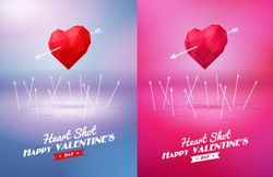 Heart shot. Two red origami heart  pierced by an arrow. Vector Illustration. Abstract polygonal heart. Love symbol. Low-poly colorful style. Romantic background for Valentines day. Eps 10