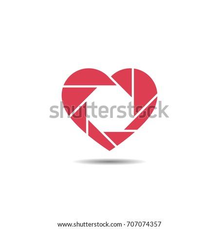 Heart Shutter Logo or Icon Camera Love