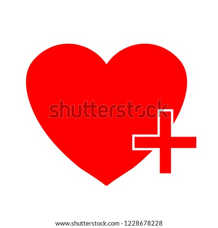 Heart sign icon. Add lover button. Plus love