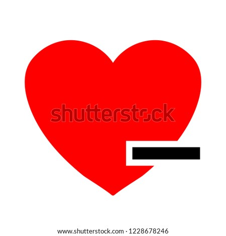 Heart sign icon. Remove lover button