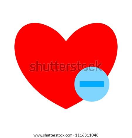 Heart sign icon. Remove lover symbol